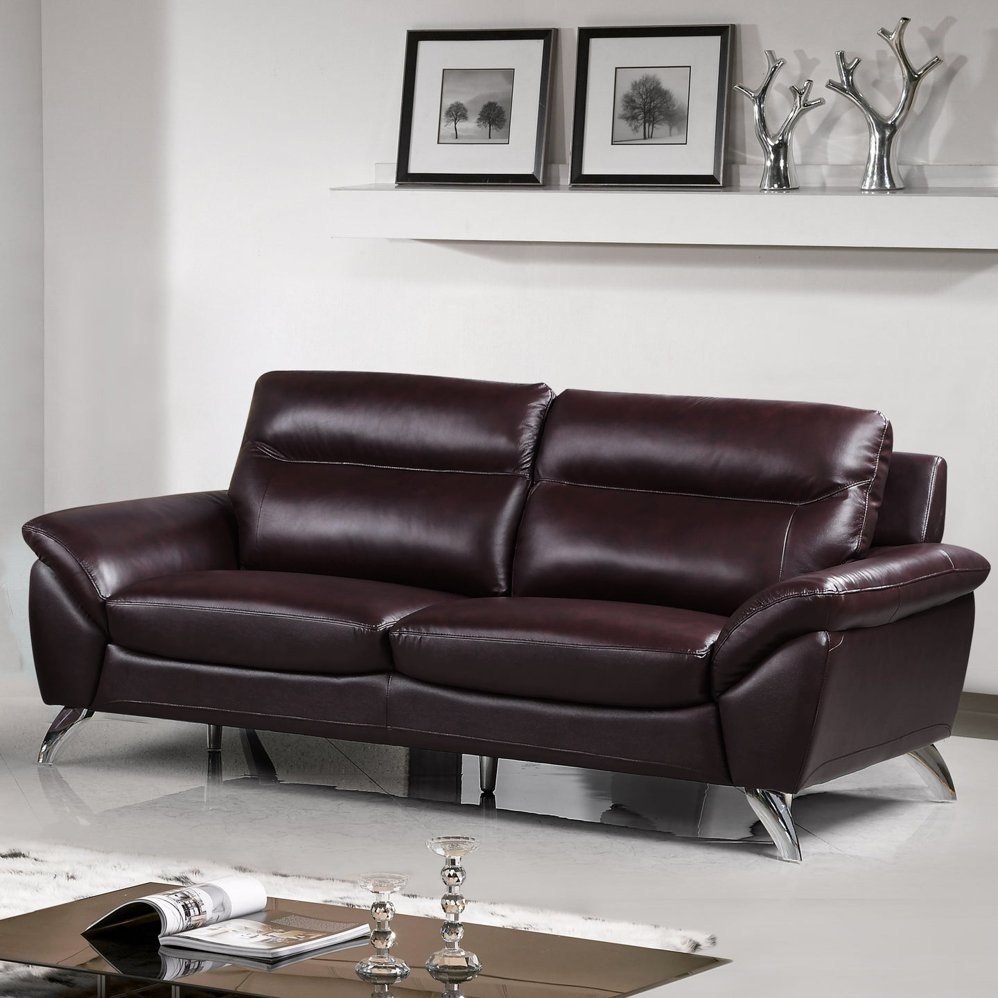 Cortesi Home Contemporary Madison Genuine Leather Sofa, Deep Merlot 78