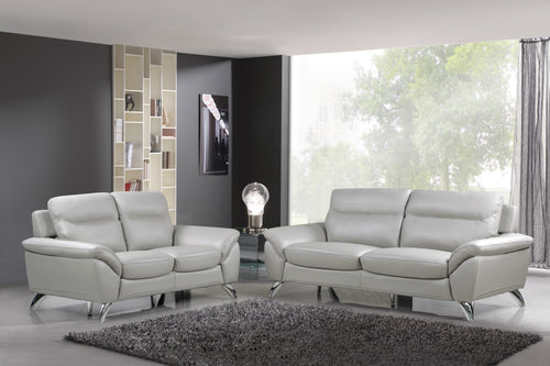 Cortesi Home Contemporary Monaco Full Genuine Leather Sofa & Loveseat Set, Light Gray