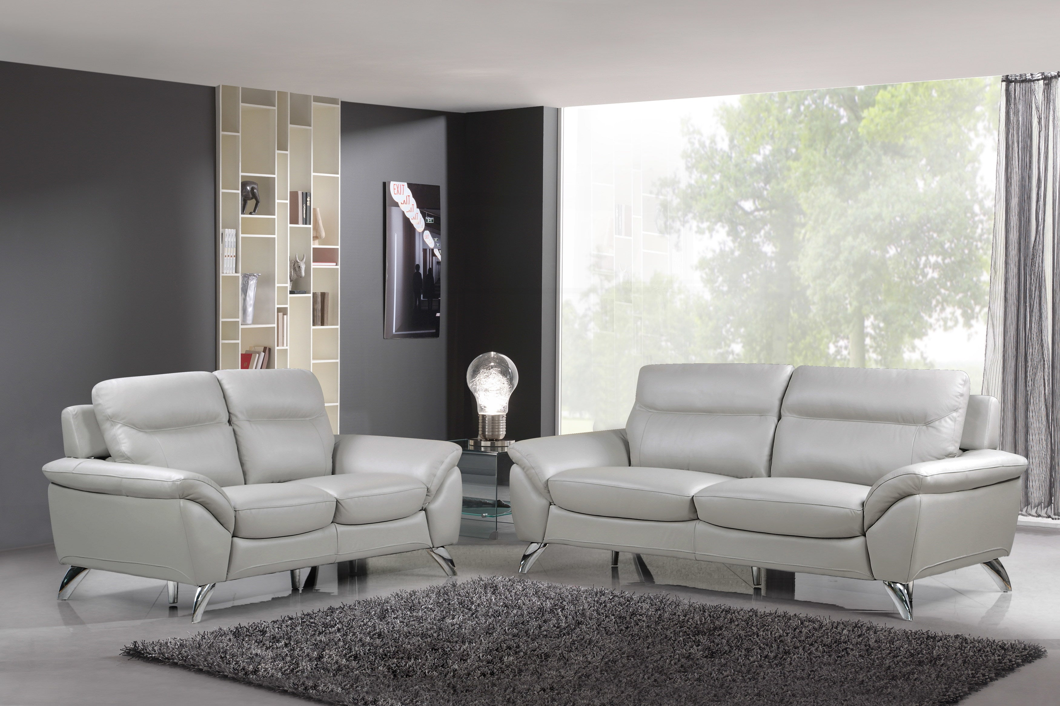 Remarkable Cortesi Home Contemporary Monaco Full Genuine Leather Sofa Loveseat Set Light Gray Unemploymentrelief Wooden Chair Designs For Living Room Unemploymentrelieforg