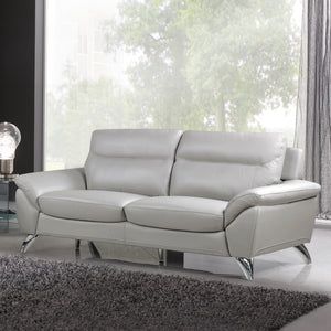 Cortesi Home Contemporary Monaco Genuine Leather Sofa, Light Grey 78""