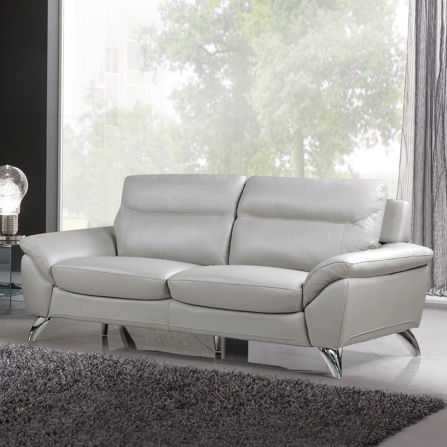 Cortesi Home Contemporary Monaco Genuine Leather Sofa, Light Grey 78