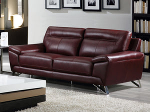 Cortesi Home Phoenix Genuine Leather Sofa, Deep Merlot 80""