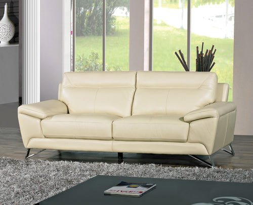 Cortesi Home Phoenix Genuine Leather Sofa, Cream 80