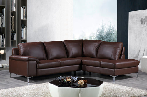 Cortesi Home Contemporary Houston Genuine Leather Sectional Sofa with Right Chaise Lounge, Brown 98