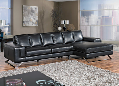 Cortesi Home Contemporary Manhattan Genuine Leather Sectional Sofa with Right Facing Chaise Lounge, Black 116