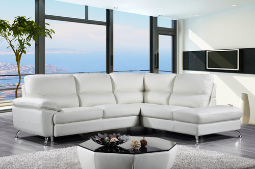 Cortesi Home Contemporary Orlando Genuine Leather Sectional Sofa with Right Chaise Lounge, Cream 98