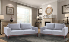 Cortesi Home Roma Sofa in Soft Grey Fabric with Wood Legs, 80""