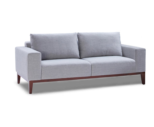 Cortesi Home Roma Sofa in Soft Grey Fabric with Wood Legs, 80