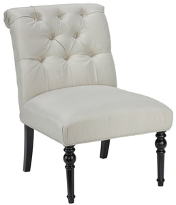 Cortesi Home Easton Armless Accent Chair in Beige Fabric