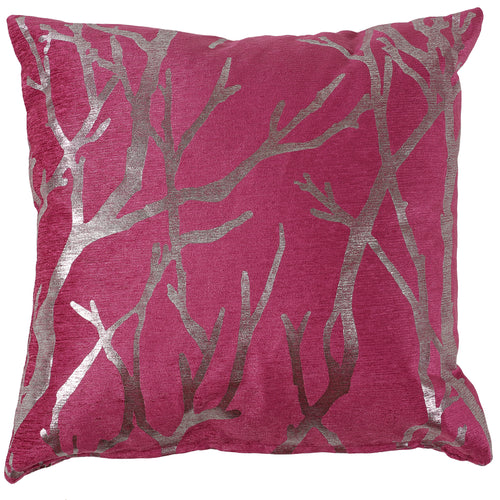 Cortesi Home Orchid Birch Decorative Square Accent Pillow with Metallic Silver