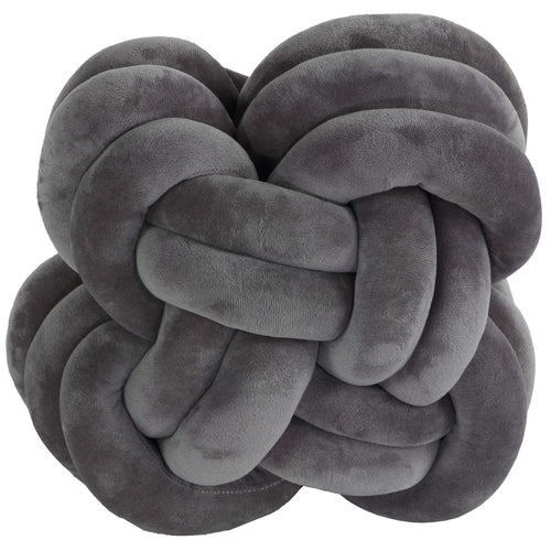 Cortesi Home Belle Knot Plush Throw Pillow, Grey
