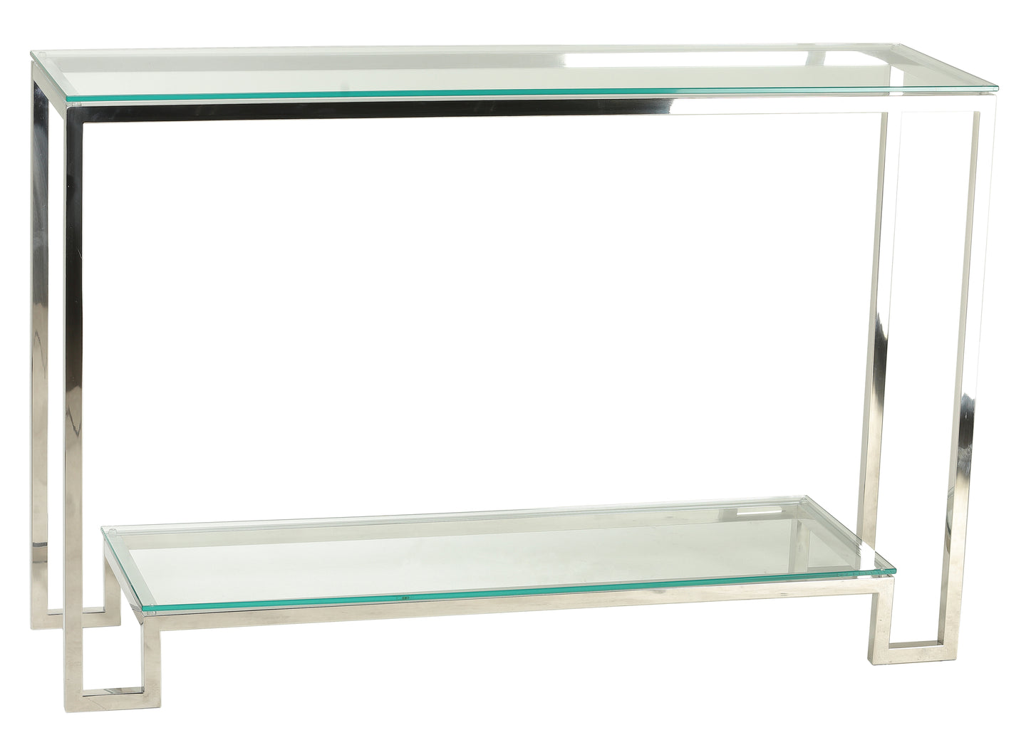 Cortesi Home Reef Contemporary 2 Shelf Glass Console Table in Stainless Steel Finish, Clear Glass