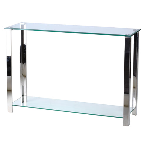 Cortesi Home Melissa Double Shelf Glass Console Table, 43