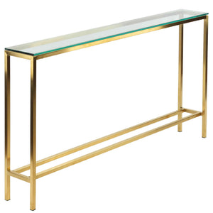 "Cortesi Home Juan Console Table, Brushed Gold Color with Clear 10mm Glass, Skinny 56"" x 8"""