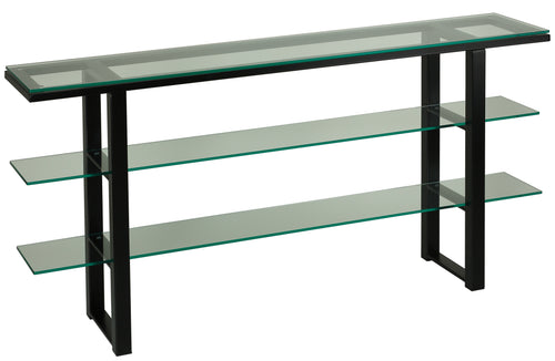 Cortesi Home Rozo Contemporary Three Tier Glass Console Table with Black Metal Frame