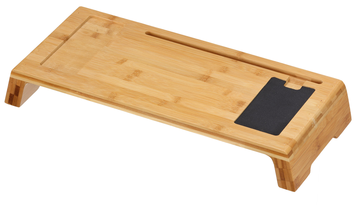 Cortesi Home Mia Natural Bamboo Monitor Stand With Mouse Pad,