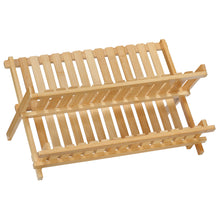 Cortesi Home Rella Natural Bamboo Folding Dish Rack for Drying and Storage