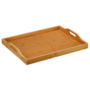 Cortesi Home Alex Natural Bamboo Butler Serving Tray Table with Handles, 18x14