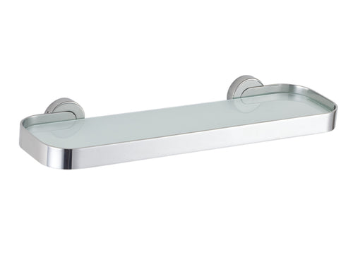 Milo Contemporary Stainless Steel Glass Vanity Shelf, Chrome