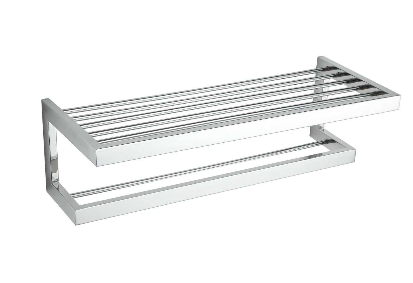 Rikke Contemporary Stainless Steel Towel Bar with Shelf, Chrome