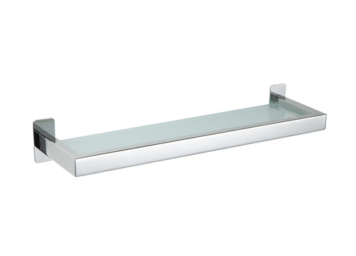 Cortesi Home Rikke Contemporary Bathroom Vanity Shelf in Stainless Steel with Glass, Chrome