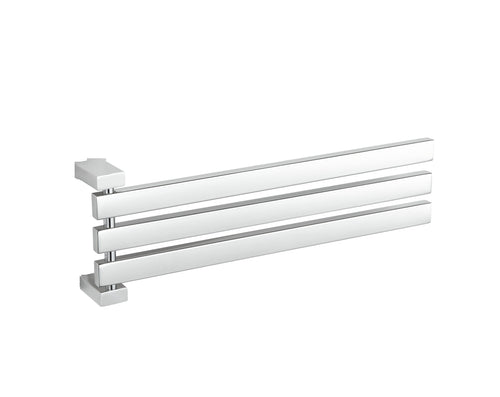 Enzo Contemporary Stainless Steel Adjustable 3 Swing Arm Towel Rack, Chrome