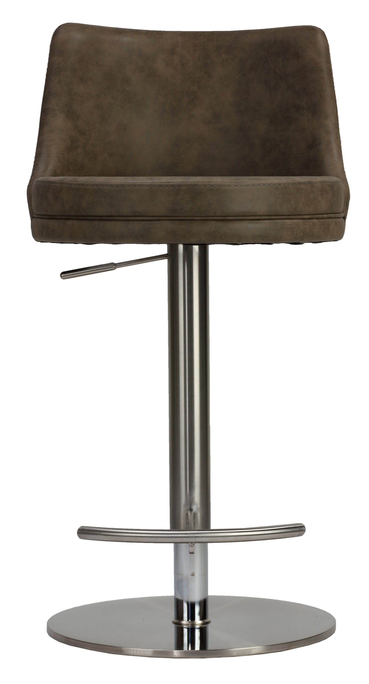 Cortesi Home Eros Adjustable Barstool in Brushed Stainless Steel with Heavy Solid Base, Retro Taupe