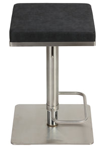 Cortesi Home Atlas Adjustable Barstool in Brushed Stainless Steel with Heavy Solid Base, Retro Black