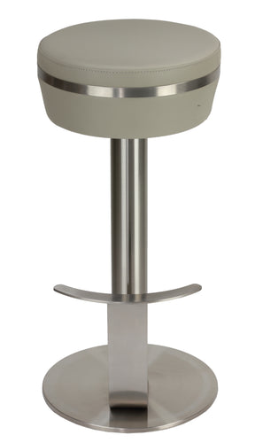 Cortesi Home Hermes Swivel Counter-height Stool in Heavy Stainless Steel, Light Grey