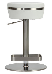 Cortesi Home Athena Premium Adjustable Backless Round Barstool in Brushed Stainless Steel with Heavy Solid Base, Snow White