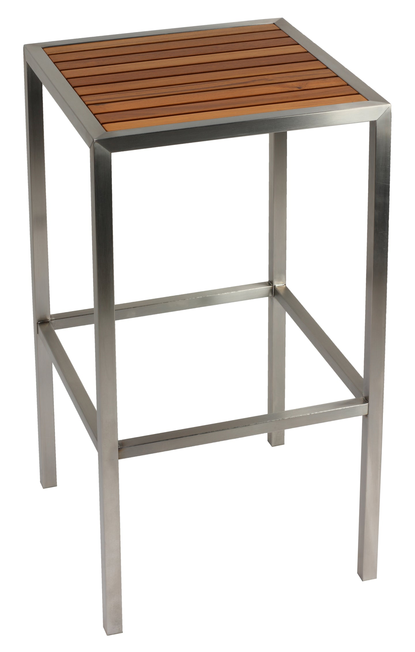 Cortesi Home Kratos Brushed Stainless Steel with Genuine Teak Top, Indoor or Outdoor Backless Barstool, 30