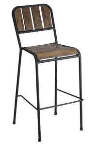 "Cortesi Home Jayden 30"" Industrial Style Bar Stool with Black Metal Frame"