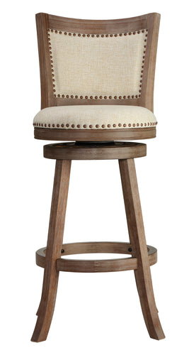 Cortesi Home Marko Bar Stool Beige Fabric Swivel Seat with Padded Back, 29