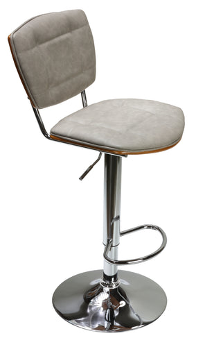 Cortesi Home Carmen Adjustable Barstool, Antique Grey and Walnut Veneer