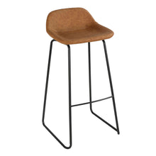 "Cortesi Home Elise 30"" Barstool in Saddle Brown Faux Leather (Set of 2)"