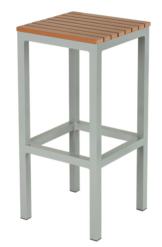 Cortesi Home Lola Aluminum Outdoor Backless Barstool in Poly Resin, Silver/Teak