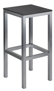 Haven Aluminum Outdoor Backless Barstool in Slate Grey Poly Resin, Brushed Aluminium