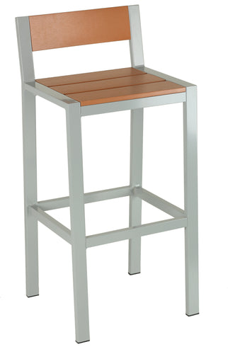 Lola Aluminum Outdoor Barstool in Poly Resin, Silver/Teak