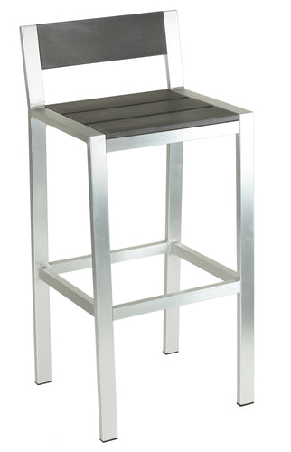 Haven Aluminum Outdoor Barstool in Slate Grey Poly Resin, Brushed Aluminum