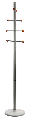 Cortesi Home Antenna Cherry Six Foot Chrome, Cherry Wood Coat Rack, Light Marble