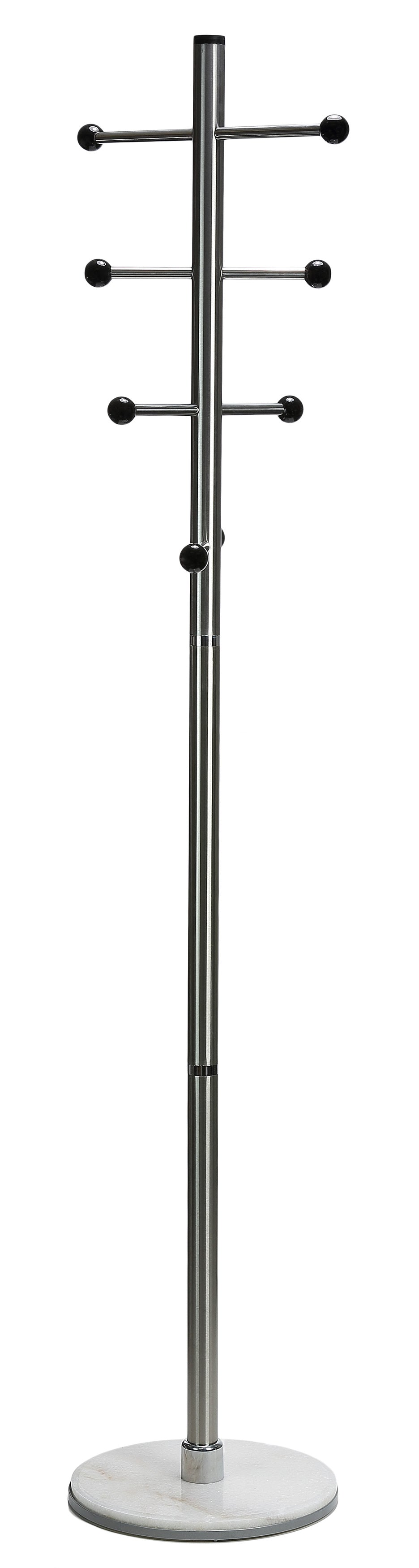 Cortesi Home Antenna Black Six Foot Chrome and Wood Coat Rack, Light Marble