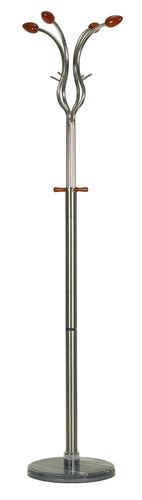 Cortesi Home Bloom Dark Six Foot Chrome, Cherry Wood Coat Rack, Dark Marble