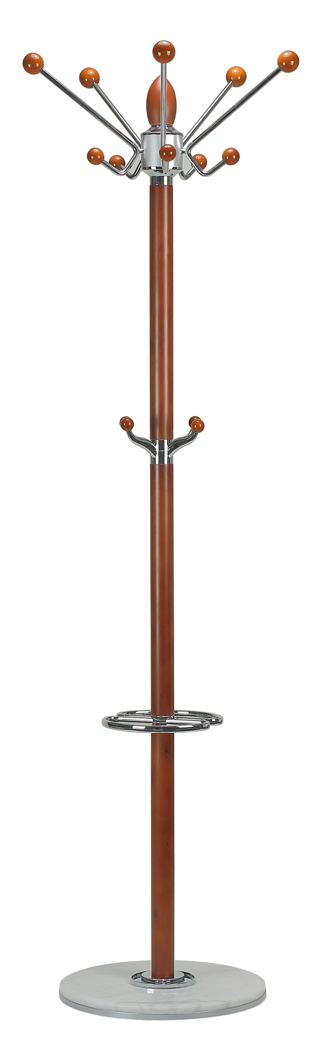 Cortesi Home Lava Light in Chrome and Cherry Wood Coat Rack, Light Marble