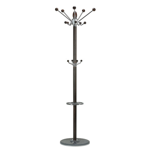 Cortesi Home Lava Dark in Chrome and Tobacco Walnut Wood Coat Rack, Black Marble