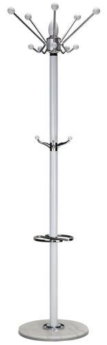 Cortesi Home Lava Coat Rack in White Lacquer Wood and Chrome Accents, White Marble