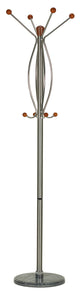 Cortesi Home Helix Dark Six Foot Chrome, Cherry Wood Coat Rack, Dark Marble