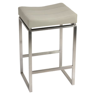Cortesi Home Isis Counter-Height Stool in Brushed Stainless Steel, Light Grey