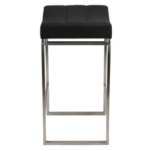 Cortesi Home Isis Counter-Height Stool in Brushed Stainless Steel, Black