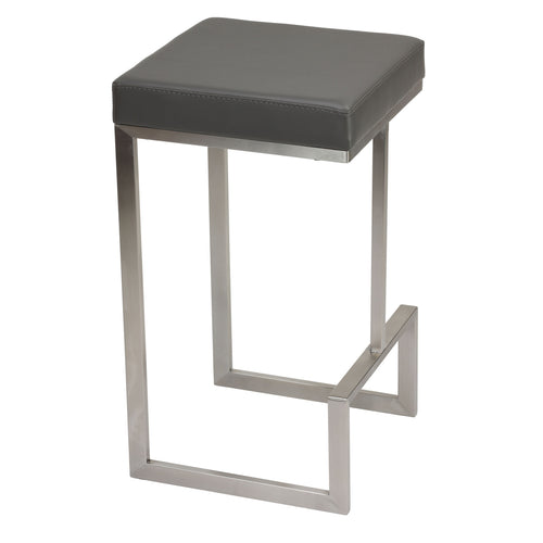 Cortesi Home Ares Set of 2 Counter Height Stools in Brushed Stainless Steel, Grey