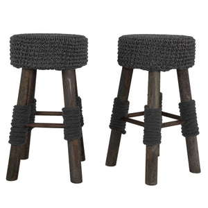 Cortesi Home Covell Round Backless Counter Stool with Removable Fabric Seat Cover, Set of 2